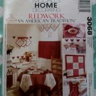 McCalls 3068 Kitchen Accessories Redwork, apron tablecloth placemat sewing pattern, Uncut
