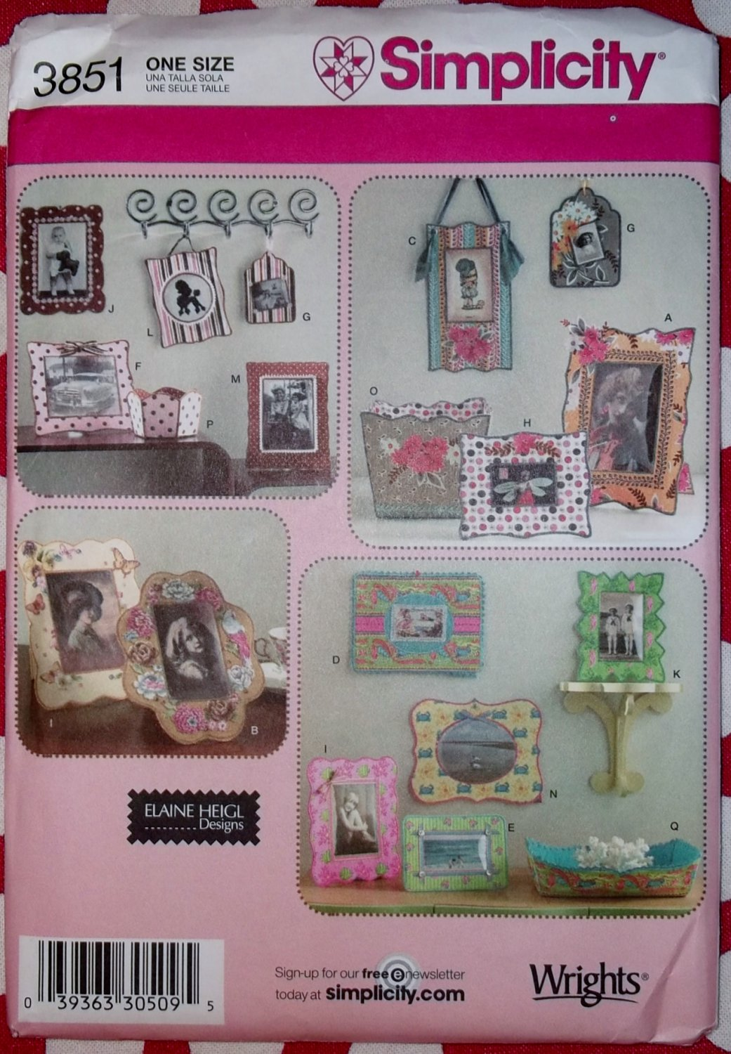 OOP Simplicity 3851 Elaine Heigl Design Fabric Frames and Containers Pattern, Uncut