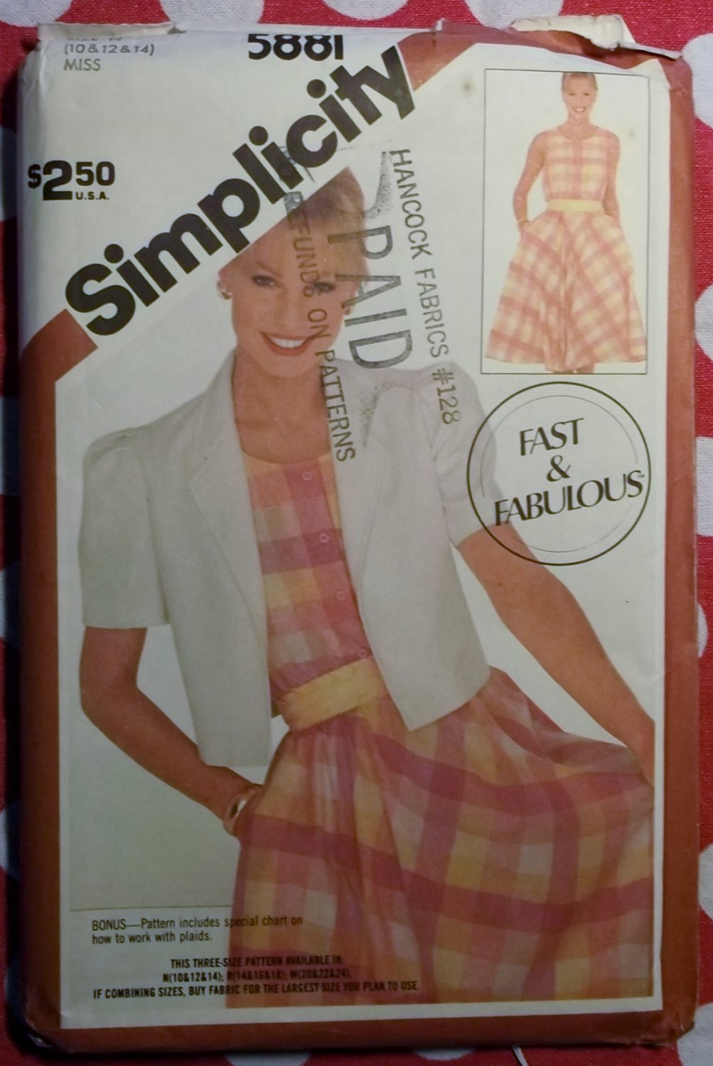 Vintage Easy Simplicity 5881 Dress with Bias Skirt & Jacket Pattern, Sz 10, 12, 14, Uncut