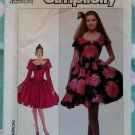 Vintage 80s Simplicity 8715 Off Shoulder Dress Pattern, Sz 8, Bust 31 1/2, Uncut