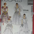 OOP McCall's Pattern 6390 Bridal Gown, & Bridesmaid's Dresses, Sz 4 6 8, Uncut