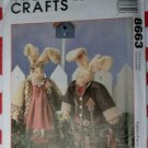 OOP McCalls 8663 Crafts Sewing Pattern, Homespun Sweet Basil & Herb Bunnies, Uncut