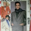 Vintage McCalls 8761 Misses Unlined Jackets Pattern, Size 12, Bust 34, Uncut