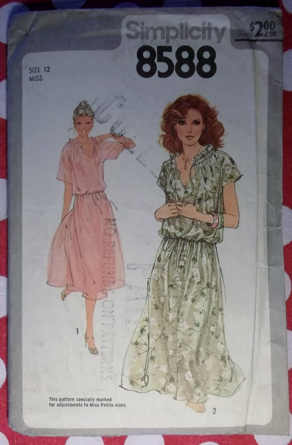 Vintage 70s Simplicity 8588 Summer dress sewing Pattern, Size 12