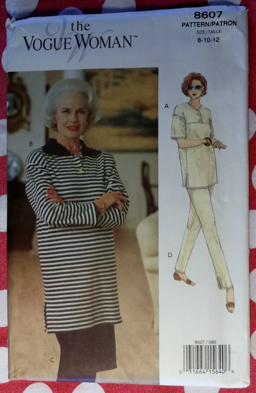 Vogue Sewing Pattern 8607 Misses Easy Pullover Tunic Top Skirt Pants, Size 8 10 12, Uncut