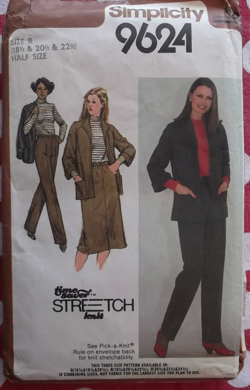 Vintage 80s Simplicity 9624 Jacket, Top, Skirt, Pants Pattern,  Half size 18 1/2 to 22 1/2, Uncut