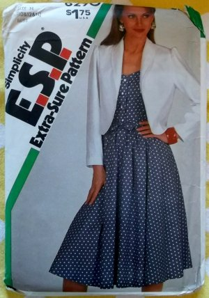Vintage 80s Simplicity 6290 Fitted Dress, Unlined Jacket &amp; Sash, Sewing Pattern, Sz 10 12 14 Uncut4