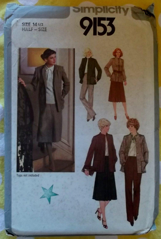 Simplicity 9153 Pattern Women's Skirt, Pants & Unlined Jacket, size 14.5 Half Size, Uncut