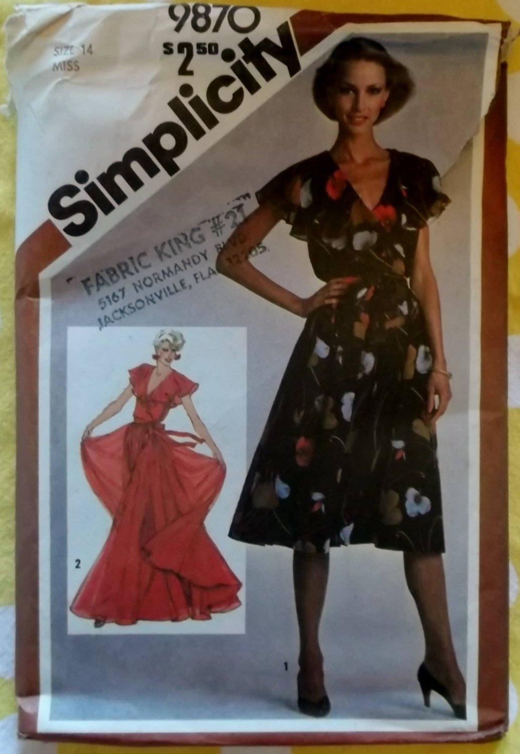 Simplicity 9870 Pullover Lined Dress in Two Lengths Pattern, Size 14,Uncut