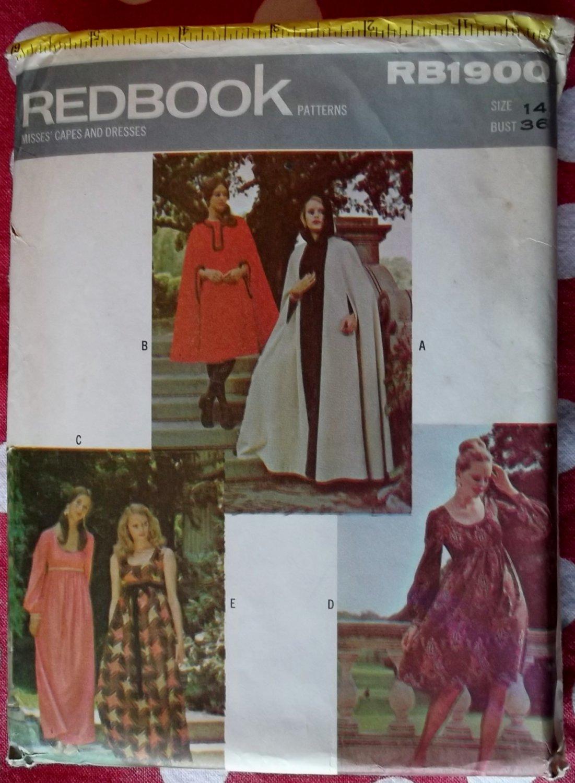 Vintage 1970's Rare Redbook RD1900 Cape & BabyDoll Dress, Sz 14, Uncut