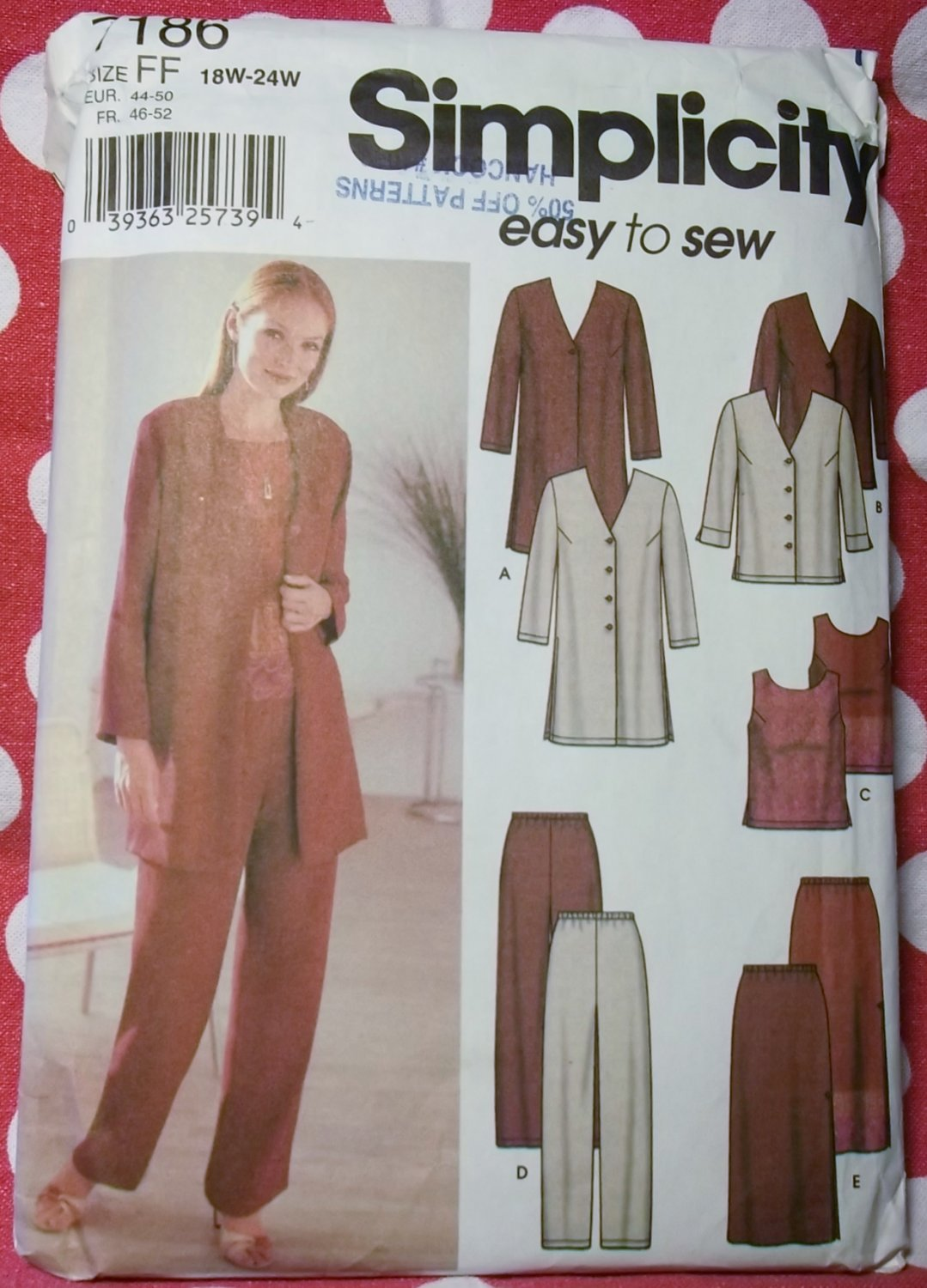 Easy Simplicity 7186 Jacket Top Pants Skirt Pattern, Plus Size 18W to 24W, Uncut