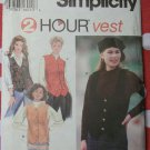 Simplicity 9205 Two Hour Misses Vests Pattern, Size 18, 20, 22, Uncut