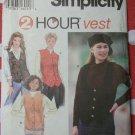 Simplicity 9205 Two Hour Misses Vests Pattern, Size 18, 20, 22, Uncut