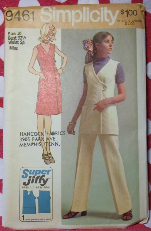 Easy 70's Simplicity 9461 Dress, Tunic & Pants Vintage Sewing Pattern, Sz 10 Bust 32 1/2, Uncut