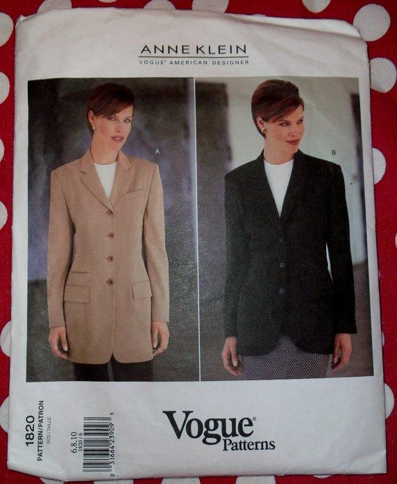 Designer Anne Klein Misses Jacket OOP Vogue 1820 Pattern, Size 6 8 10, Bust 30 1/2 to 32 1/2, UNCUT