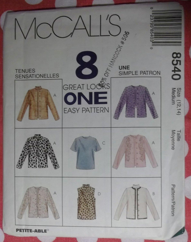Jacket & Top McCalls 8540 Pattern, Size Med 12 14 Bust 36 UNCUT