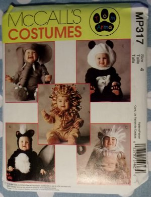 BABY COSTUME PATTERN / Skunk -Elephant - Panda- Monkey