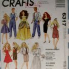 "11 1/2"" & 12 1/2"" Unisex Fashion Doll Fashion Wardrobe McCALL'S 6317 Pattern, Uncut"