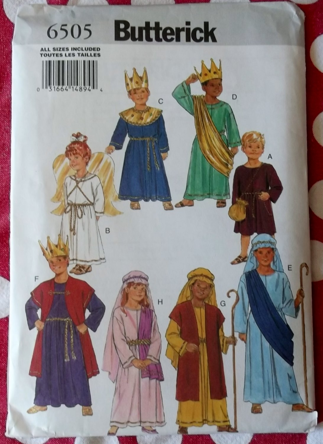 Child Costume Kings Angel Sheperds Nativity Butterick 6505 Pattern, Size 4 to 14, Uncut