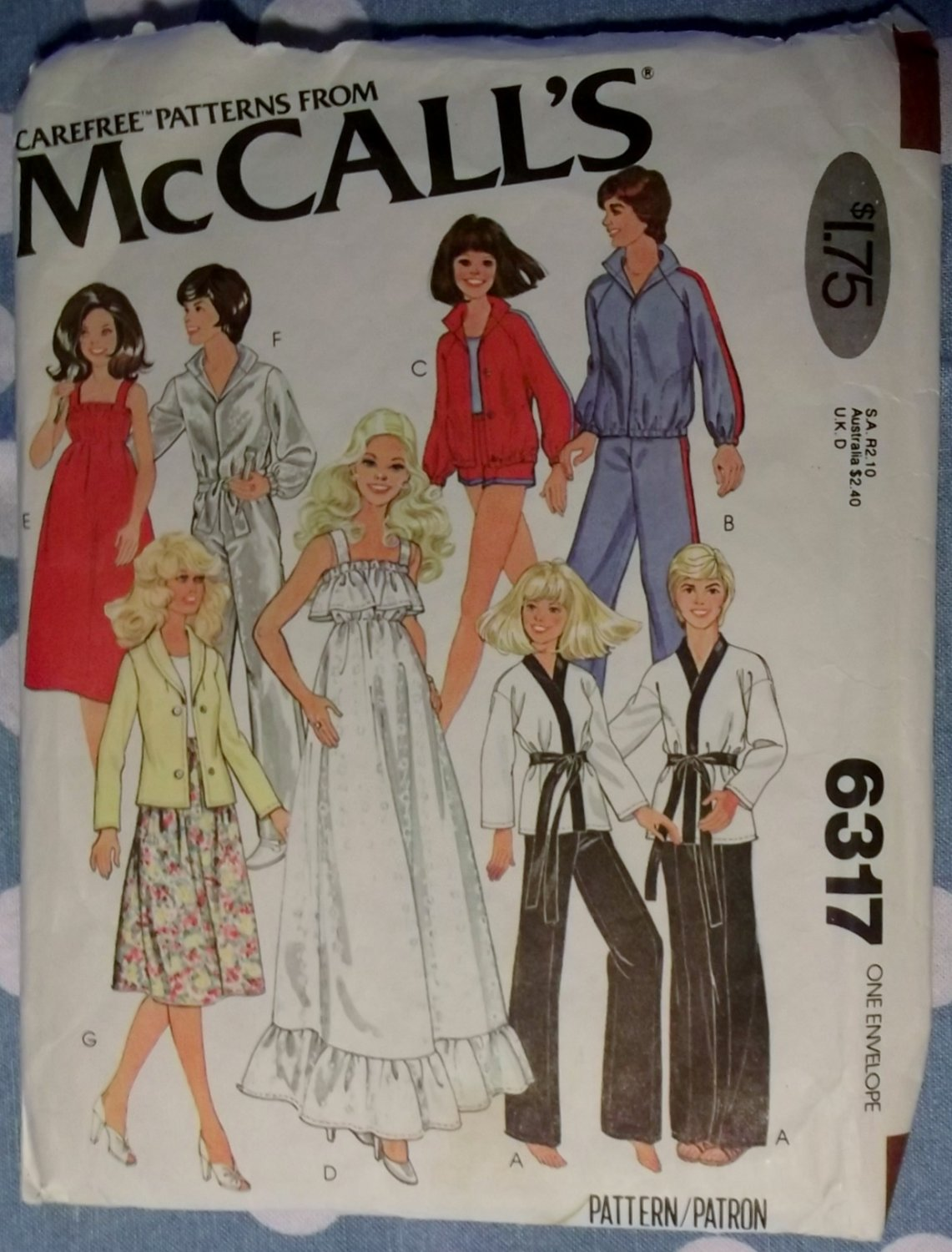 70's Wardrobe for 11 1/2, 12, 18 & 19 Doll's, McCall's 6317 Pattern, Uncut