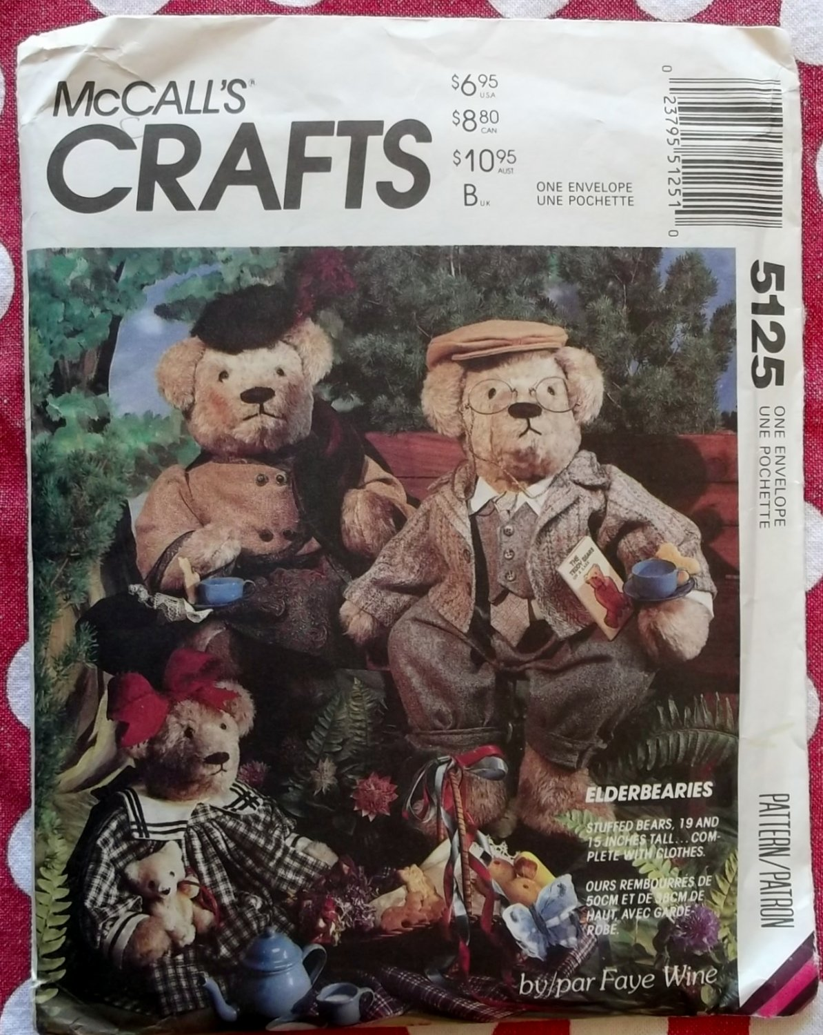 "Elderbearies  15"" & 19"" Bear  with Vintage style Clothes  McCall's 5125 Pattern , Uncut"