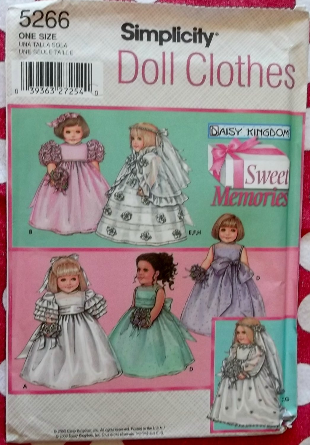 """Simplicity 5266 Daisy Kingdom Sweet Memories 18"""" Doll Clothes Simplicity 5266 Pattern, Uncut"""