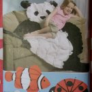 Fleece throws Panda, Ladybug & Clown Fish Simplicity 9521 Pattern, Uncut