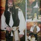 Men's Pirate Costume Coat Vests Shirt Cravat & Pants Simplicity 4923 Sewing Pattern Sz. L-XL, Uncut