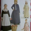 Childs Costume Pilgrim Colonial Frontier Pioneer Gowns Simplicity 3723 Pattern, Sz 7 To 14, Uncut