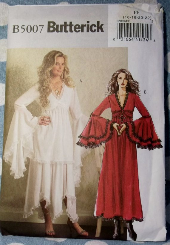 Easy Misses Bewitching Goth Dress Costume Butterick 5007 Pattern, Plus Size 16 to 22, UNCUT