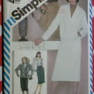 Vintage 80's Misses Slim Skirt, Blouse & Lined Jacket Simplicity 6106 Sewing Pattern, Sz 14, Uncut