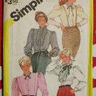 Vintage 80s Womens Blouses, Simplicity 6129 Pattern  Plus Size 24 1/2, Uncut