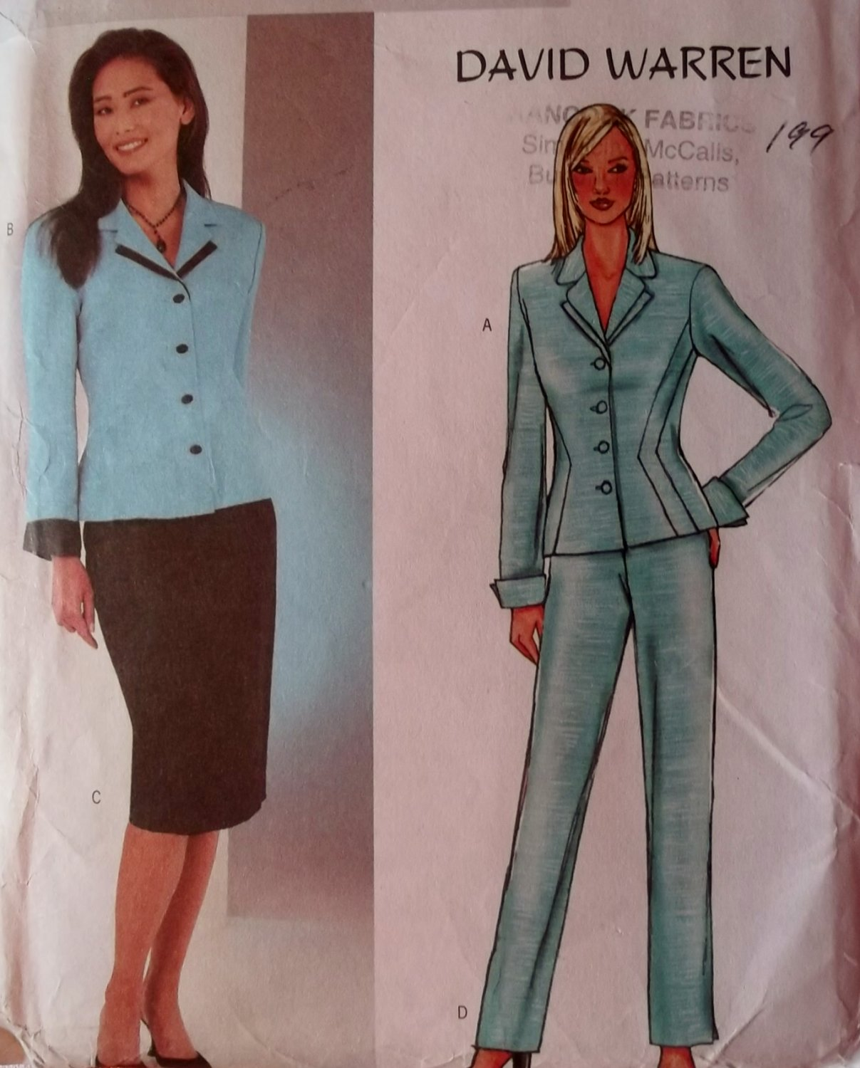 David Warren Misses Jacket, Skirt & Pants Butterick 3918 Pattern, Size 12 14 16, Uncut