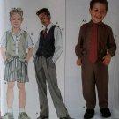 Boy's pants shorts suspenders shirt vest & neck tie Pattern Simplicity 9074, Sz 3 to 8, Uncut