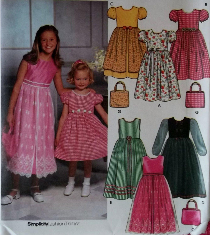 Simplicity 9497 Girls Dress and Purse Pattern, Size 3 4 5 6, Uncut