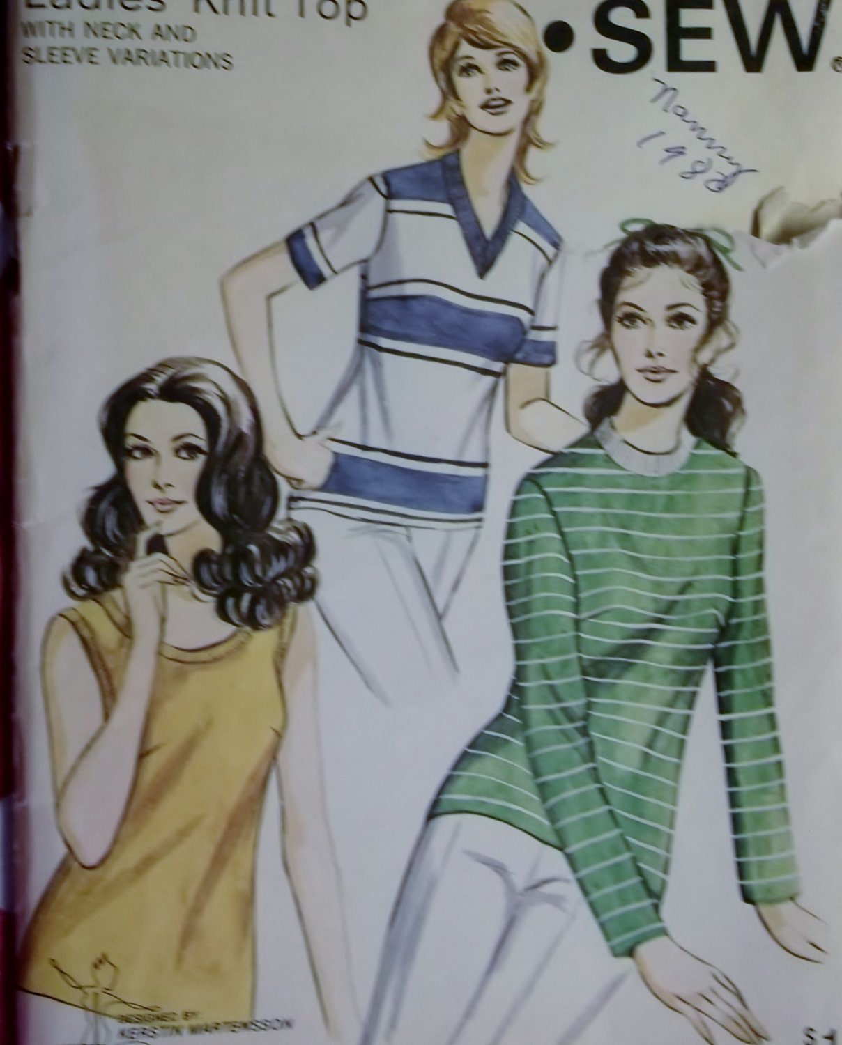 Kwik Sew 304 Misses Knit Top Sewing Pattern, Plus size  14 16 18, Uncut