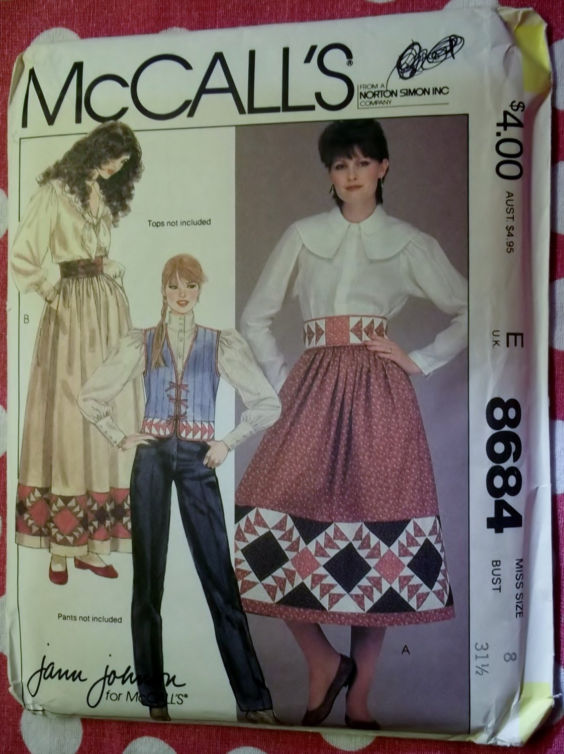 McCalls 8684 Pattern, Misses Patchwork Vest Skrt Belt  Size 8, UNCUT