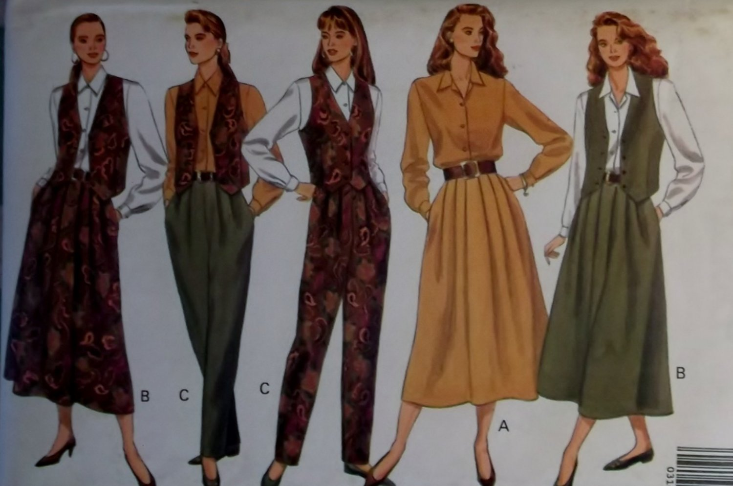 Easy Misses or Petite Vest, Shirt, Skirt & Pants Butterick 4995 Pattern, Size 12 14 16, Uncut