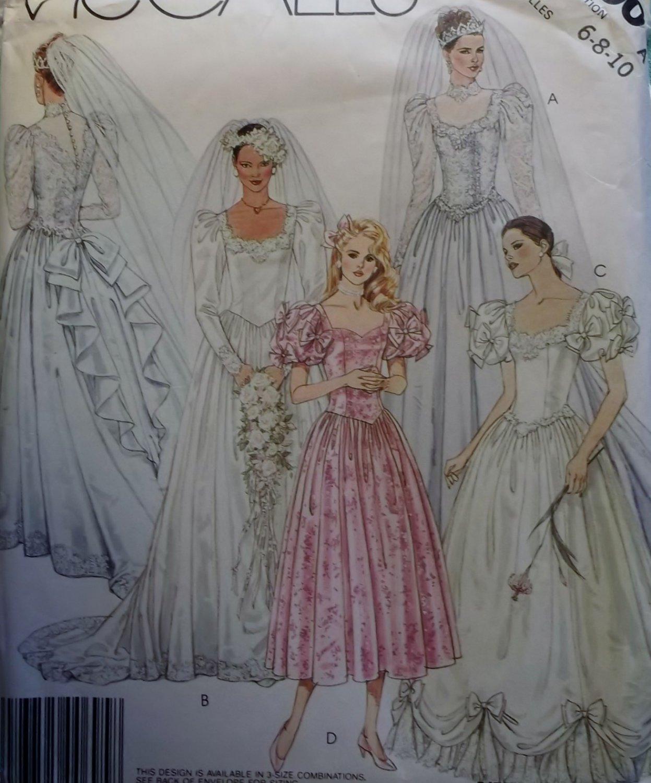 Mccalls 3490 bridal gown wedding dress bridesmaids sewing for Wedding dress patterns mccalls