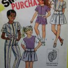 Vintage Simplicity 6345 Girls Jumpsuit, Skirt, Top & T shirt, Sewing Pattern, Size 8, Uncut