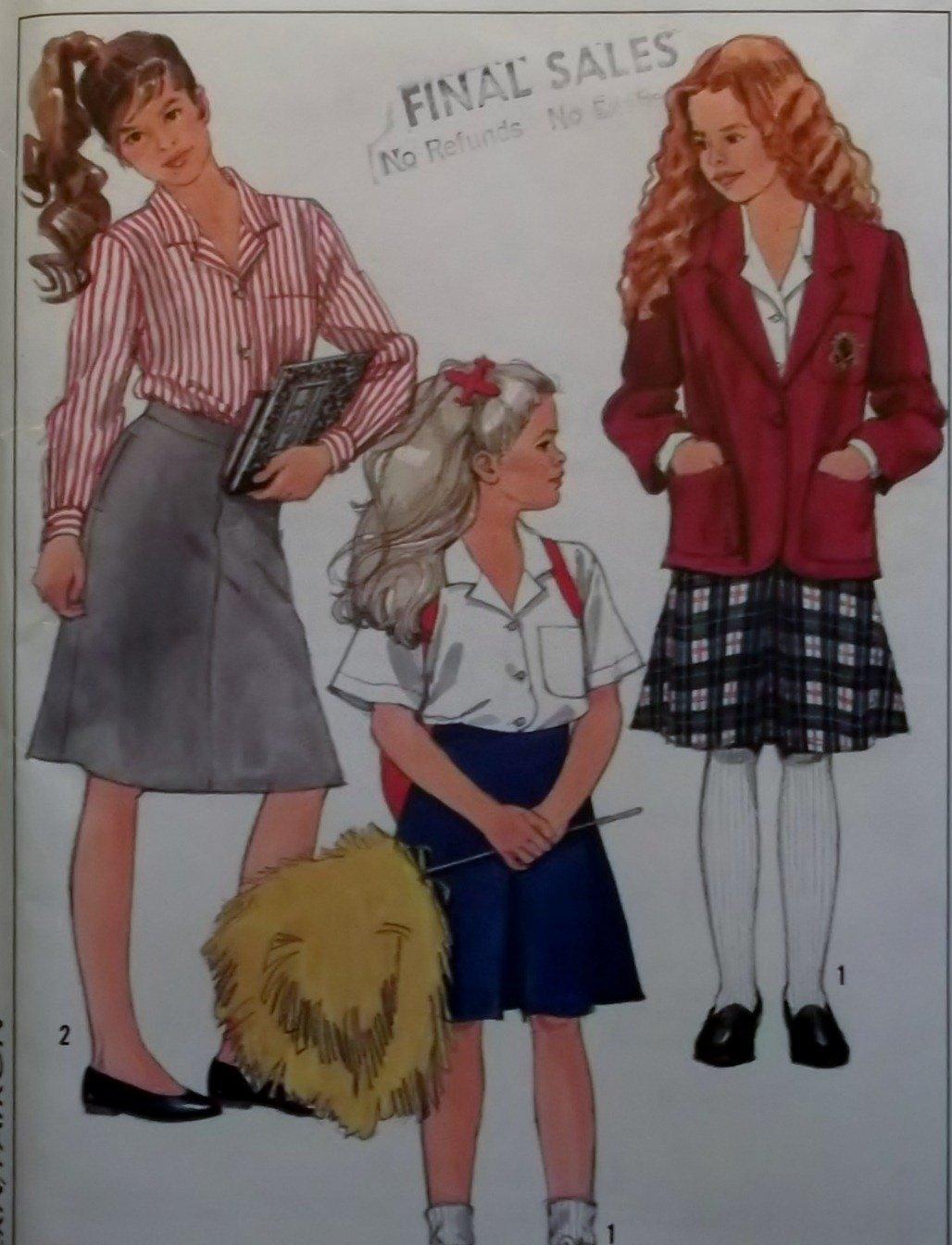 Simplicity 8509 Girls' Skirts, Blouses & Unlined Jacket Pattern, Sz 10, 12, 14, Uncut