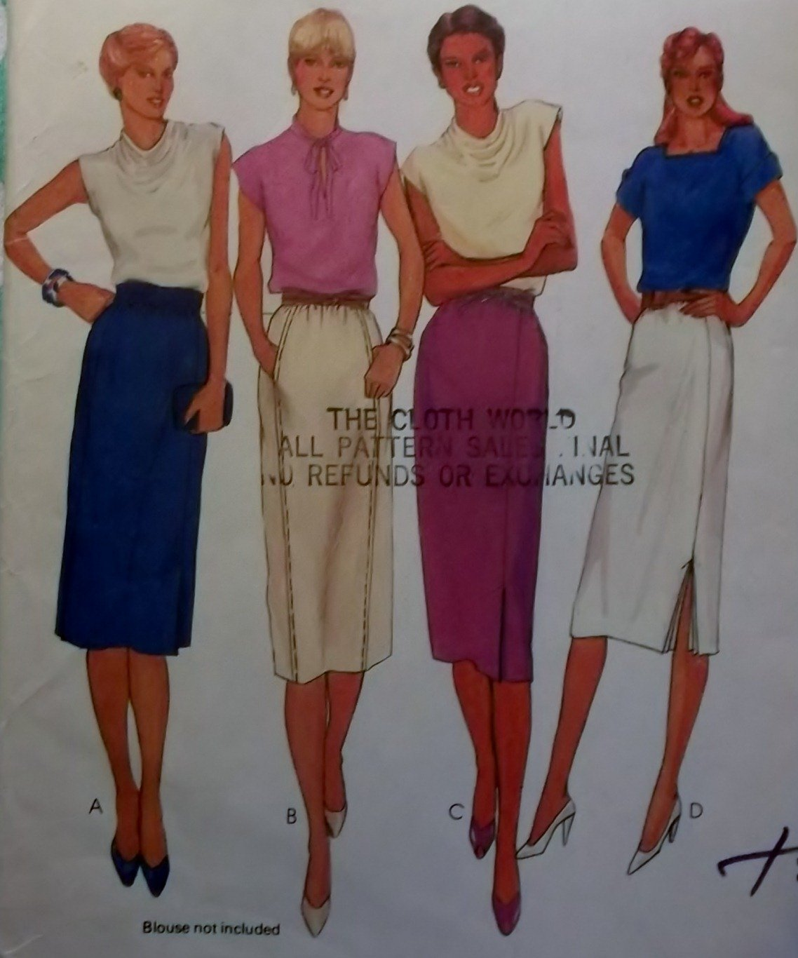 Vintage McCall's 6981 Misses' Skirts Sewing Pattern, Size 16, UNCUT