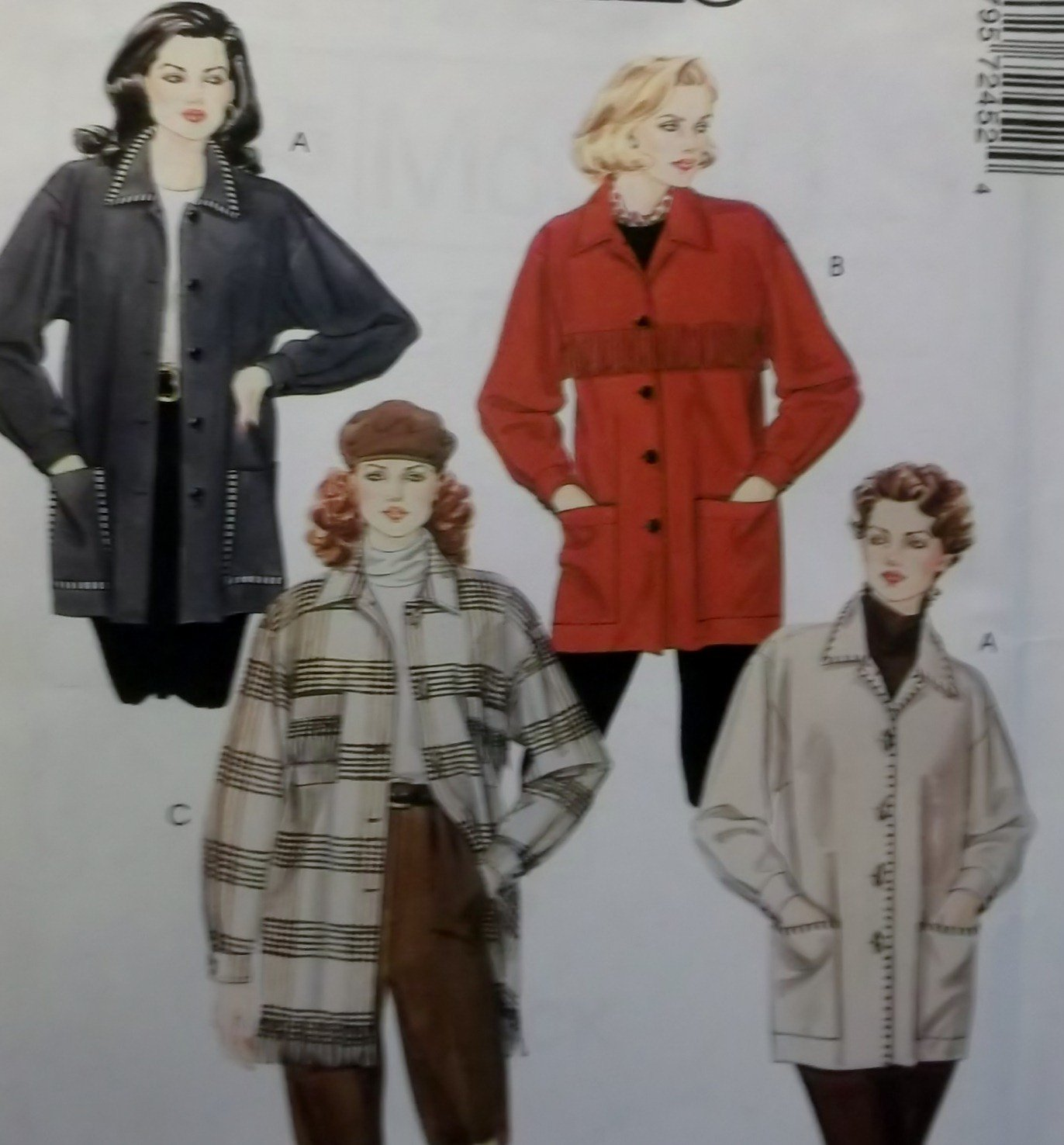 OOP Easy McCall's 7245 Misses' Unlined 4 Hour Jackets Pattern, Sz 4 to 22, Uncut