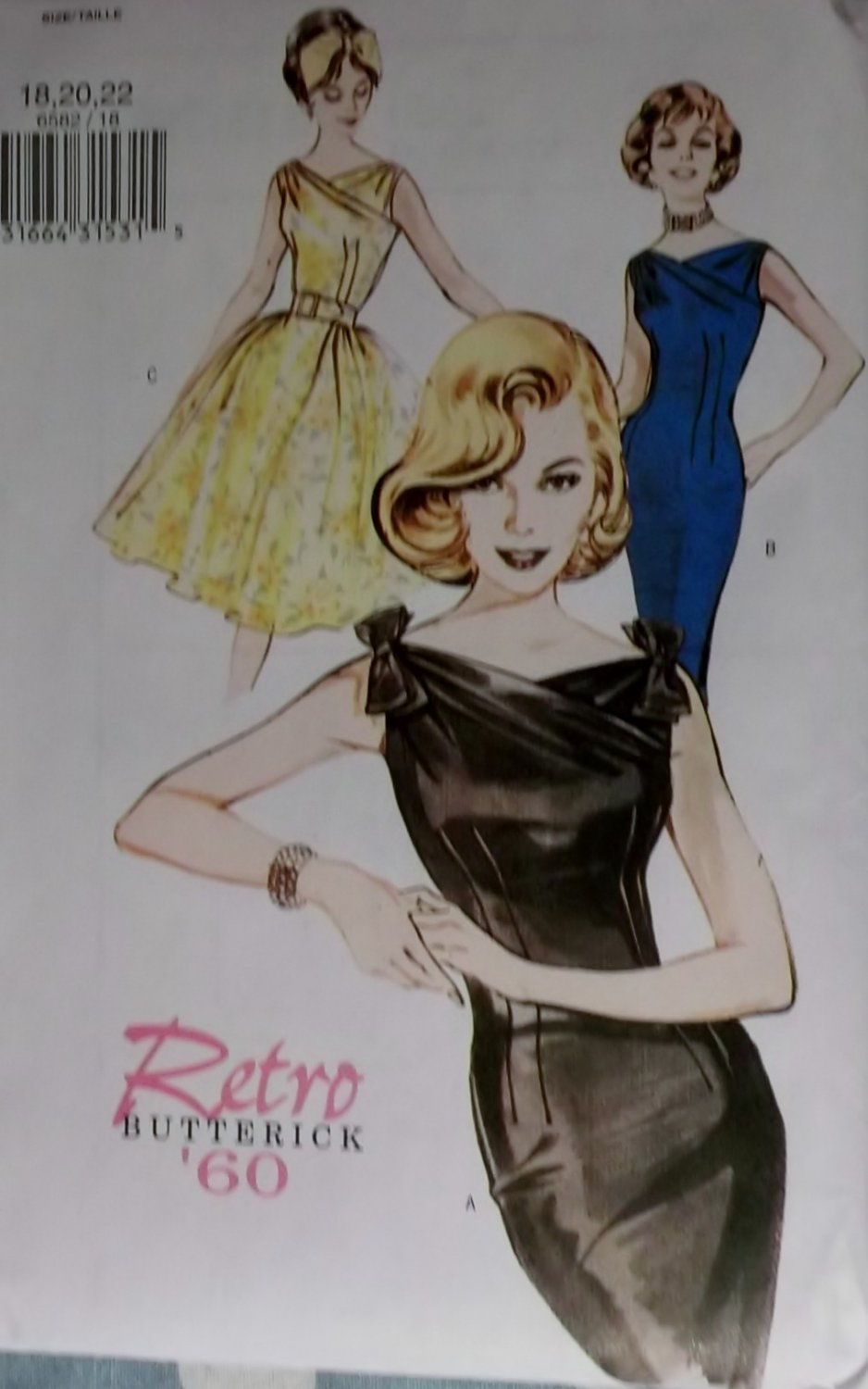 Retro Butterick B 6582 Patterns  Misses' Dresses, Sizes 12, 14, 16, UNCUT
