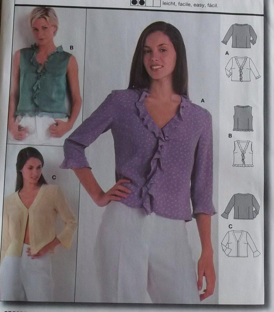 Burda 8806 Blouse Pattern, Plus Size 10 12 14 16 18 20, uncut