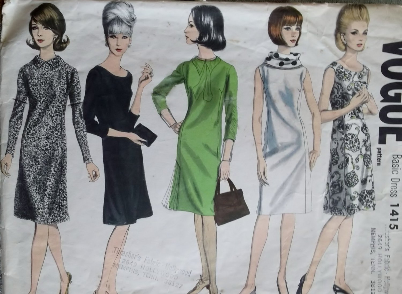 Vintage Classic shift slim princess fit dress sleeve & neck variations Vogue 1415 Pattern, Size 14