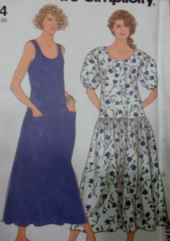 OOP Easy Simplicity 9664 Misses Drop Waist Dress Pattern, Sz 10 to 20, Uncut