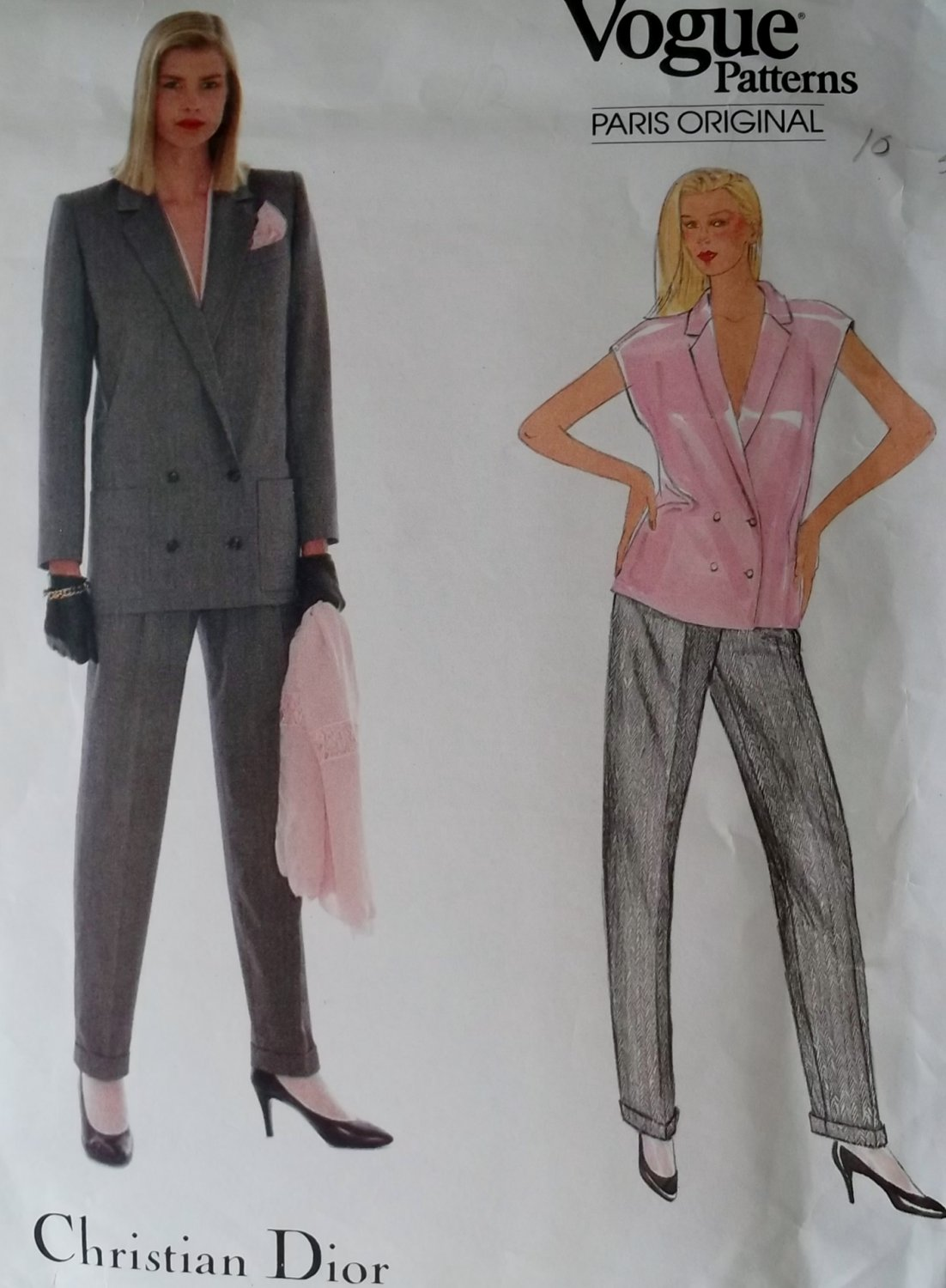 Vogue 1073 Paris Original Christian Dior Designer  Misses' Jacket, Pants and Blouse, size 10 Uncut