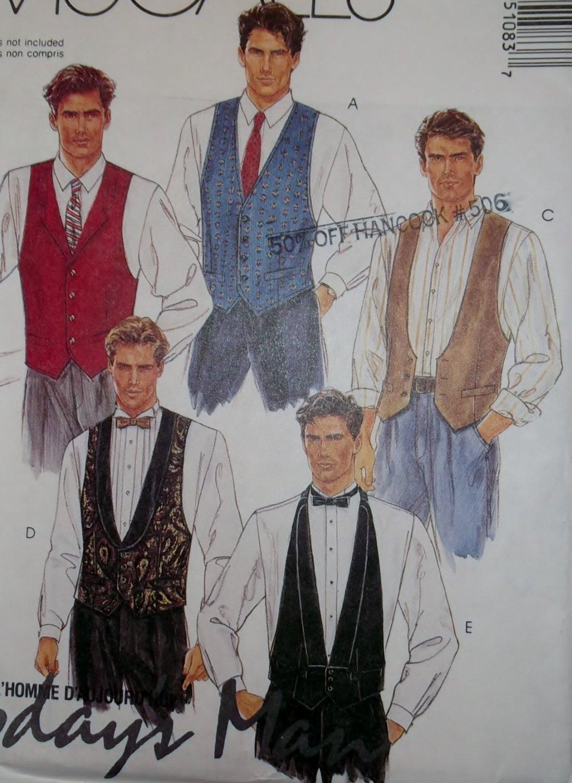 McCalls 5108 Pattern Men's Lined Vest, Tie & Bowtie,  Size 36 38 40, Uncut