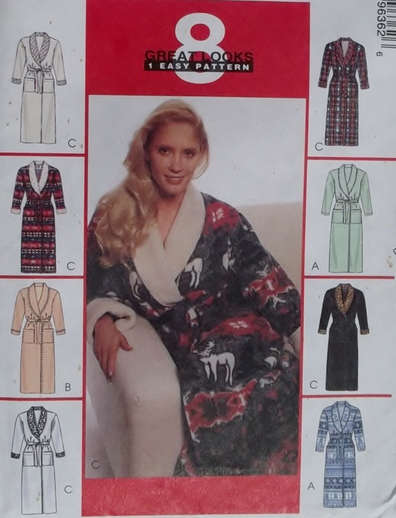 McCalls 9636 Misses' Robes with Tie Belt Sewing Pattern,  Plus Size 16 18 20 22, UNCUT